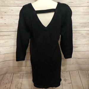 Vintage Dresses - [ Vintage ] Black Knit Dress with Pearls